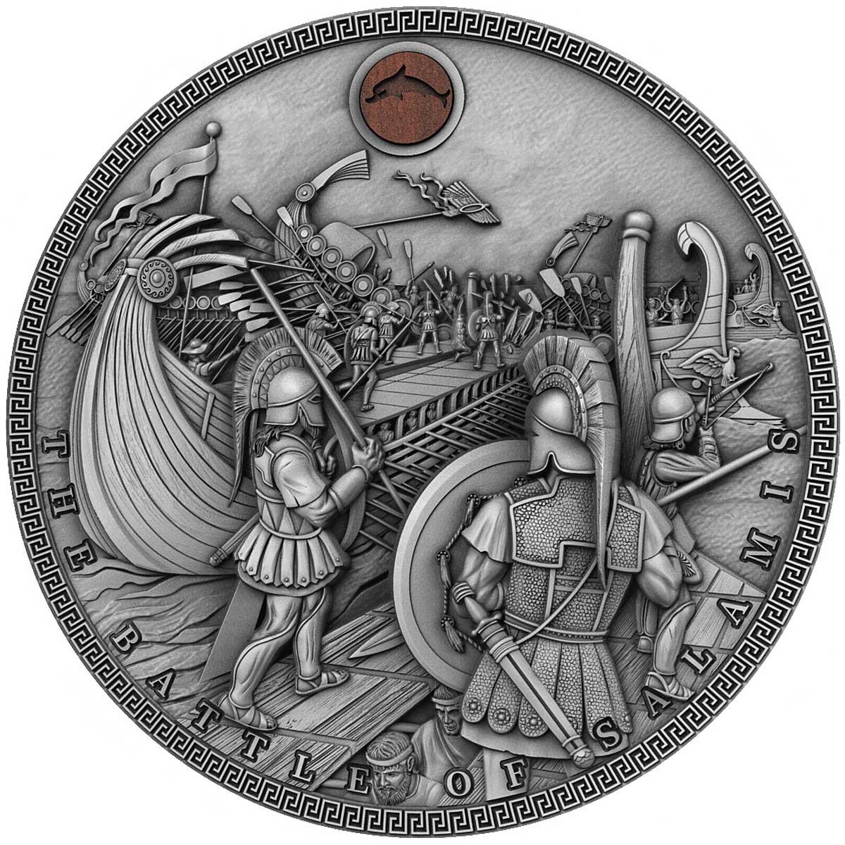Ниуэ монета 5 долларов Битва при Саламине, реверс
