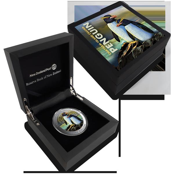 Новая Зеландия монета 5 долларов Чатемский пингвин, подарочная упаковка