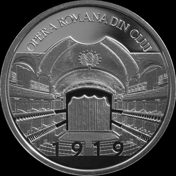 Румыния монета 10 леев 100 лет со дня основания румынской оперы в Клуже, реверс