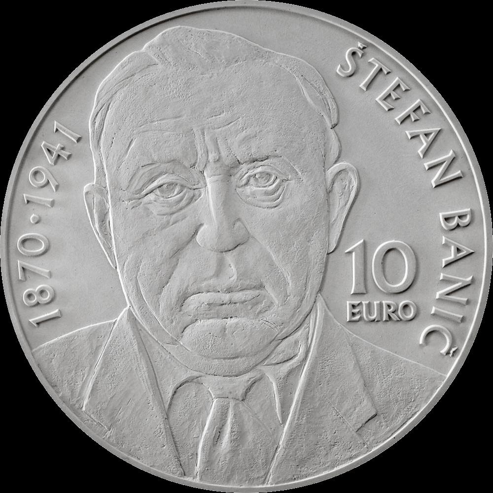 Словакия монета 10 евро Штефан Банич, реверс