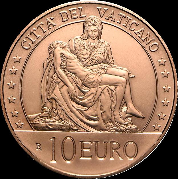 Ватикан монета 10 евро Благочестие, реверс