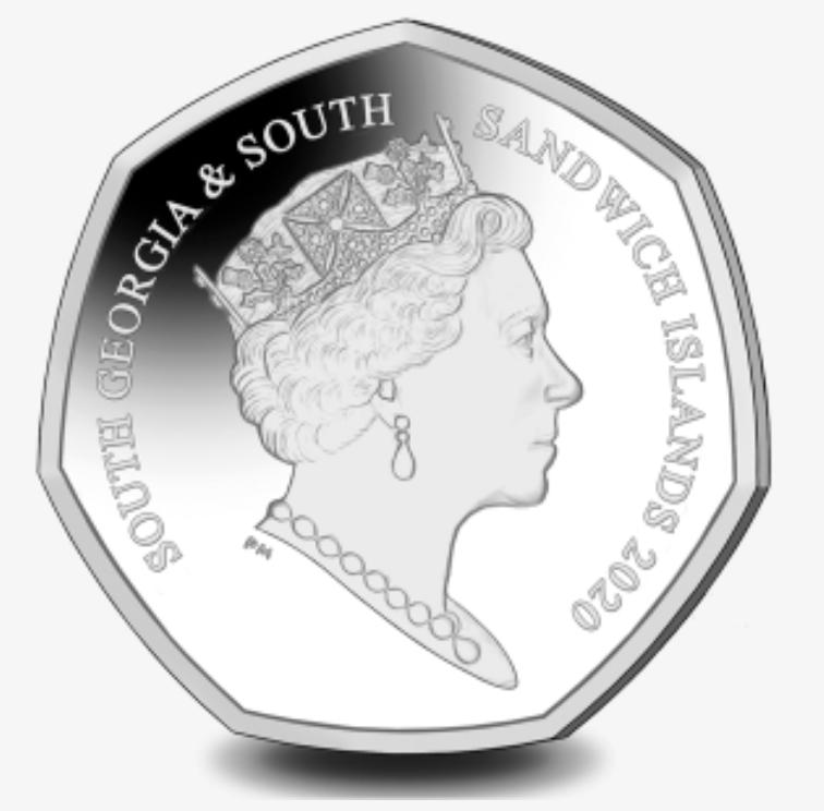 Южная Георгия и Южные Сандвичевы острова монету 50 пенсов 2020, аверс