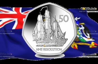 Южная Георгия и Южные Сандвичевы острова монетау 50 пенсов Корабль Его Величества Резолюшн