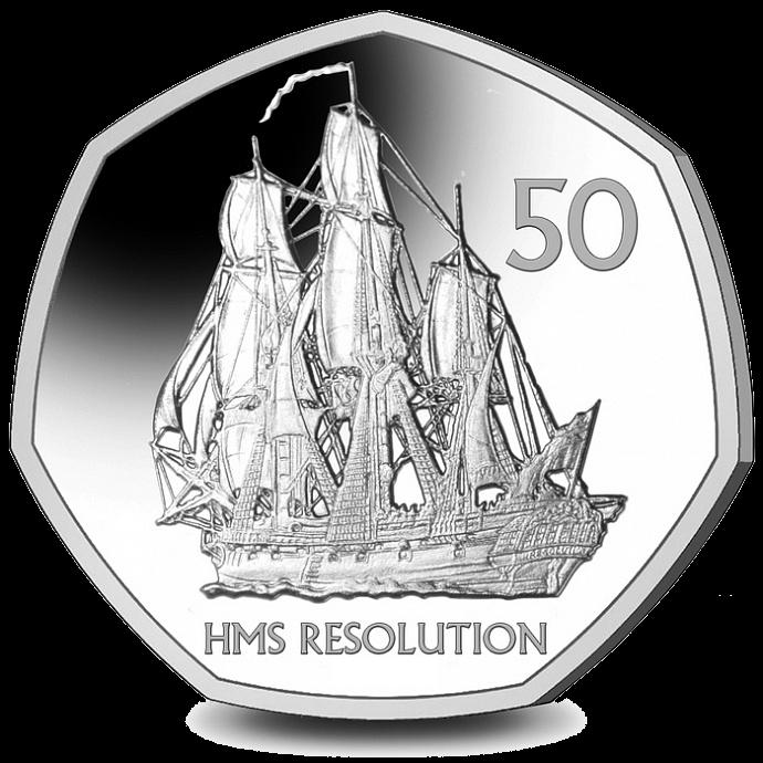 Южная Георгия и Южные Сандвичевы острова монетау 50 пенсов Корабль Его Величества Резолюшн, реверс