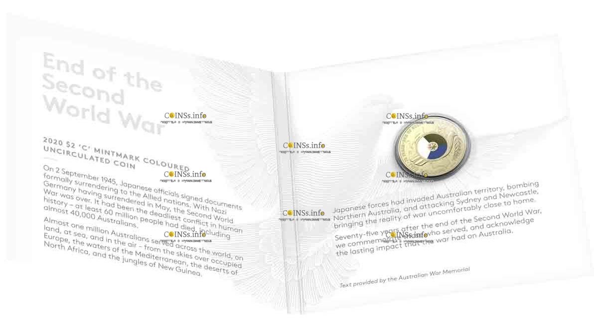 Австралия монета 2 доллара 75 лет со дня окончания Второй Мировой войны, подарочная упаковка
