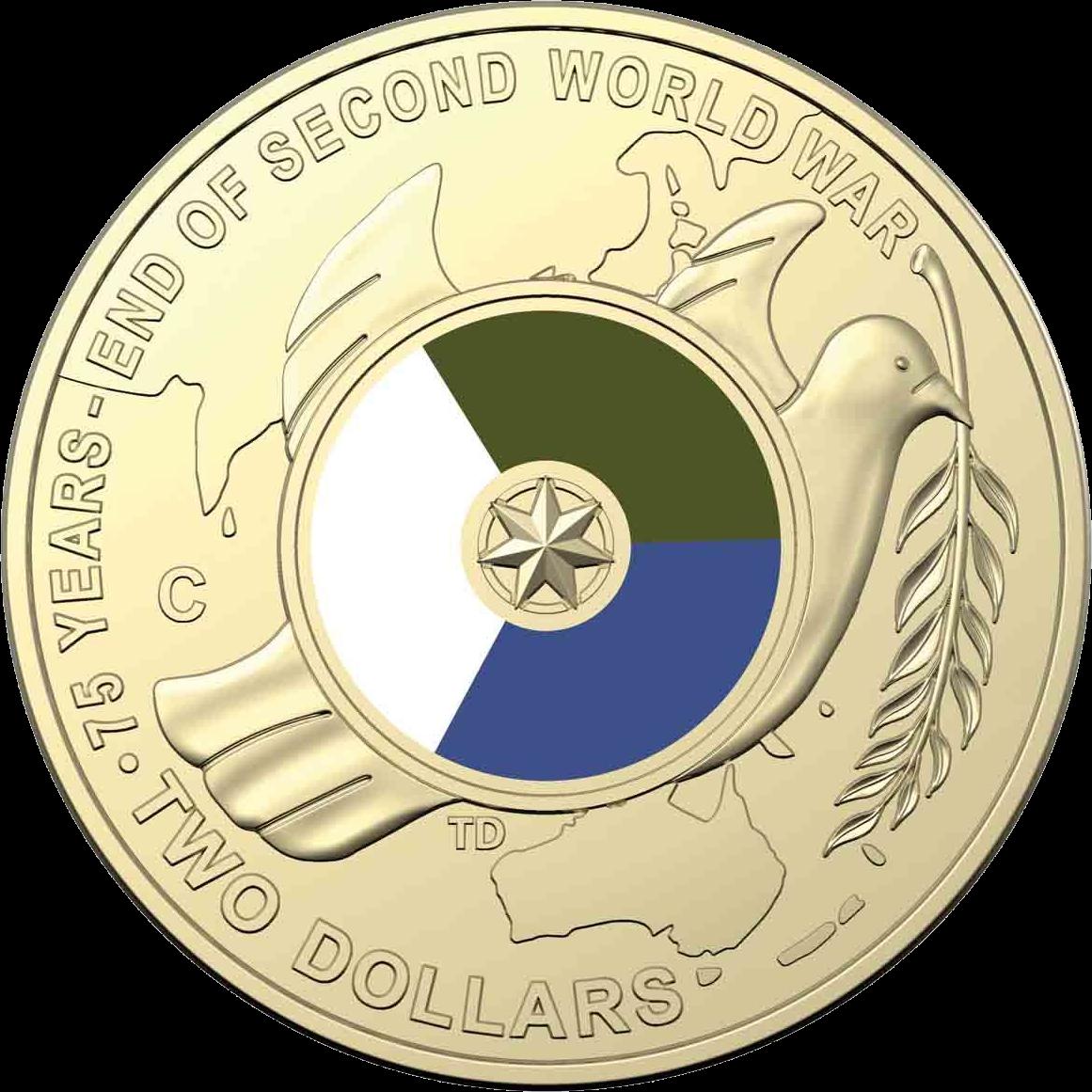 Австралия монета 2 доллара 75 лет со дня окончания Второй Мировой войны, реверс