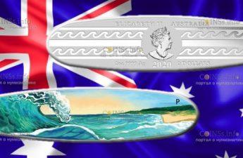 Австралия монета 2 доллара Доска для серфинга