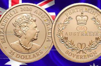 Австралия монета 25 долларов 165 со дня выпуска Первого Соверена
