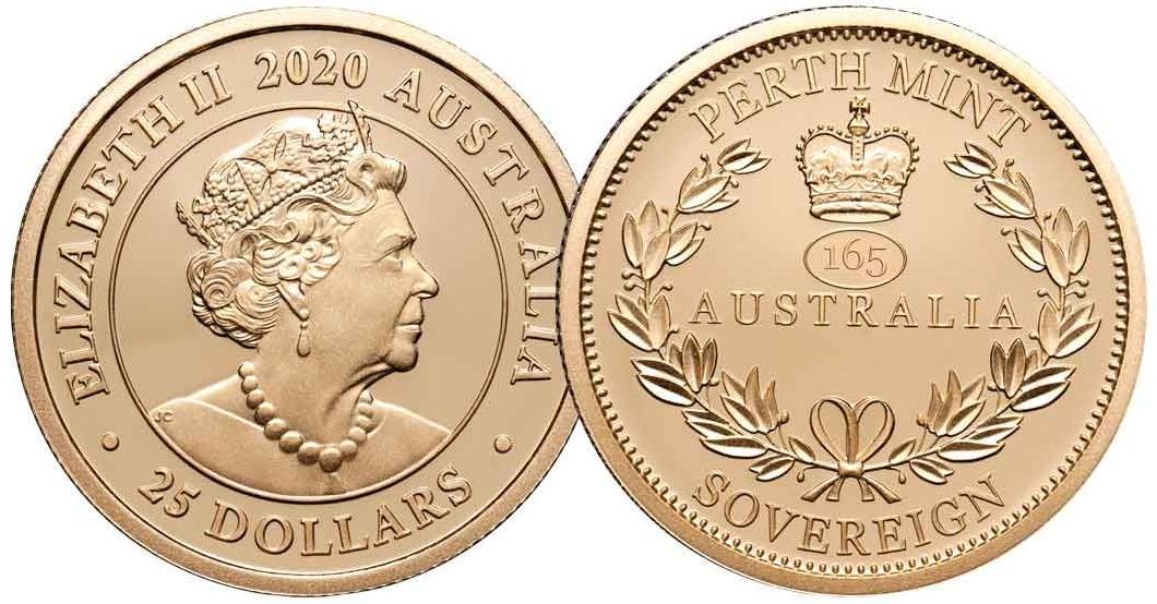 Австралия монета 25 долларов 165 со дня выпуска Первого Соверена, новая монета
