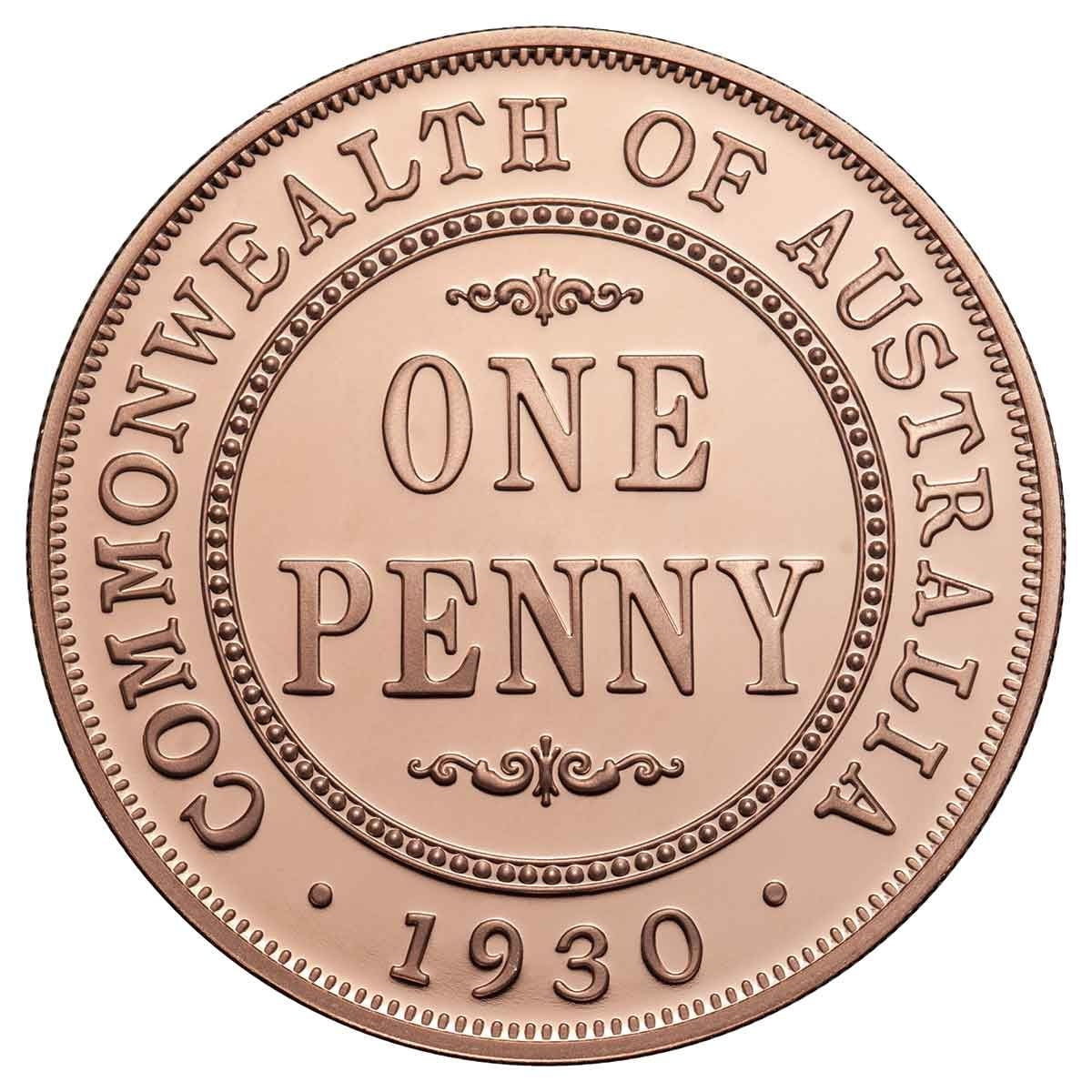 Австралия монета Один пенни 1930 год, реверс