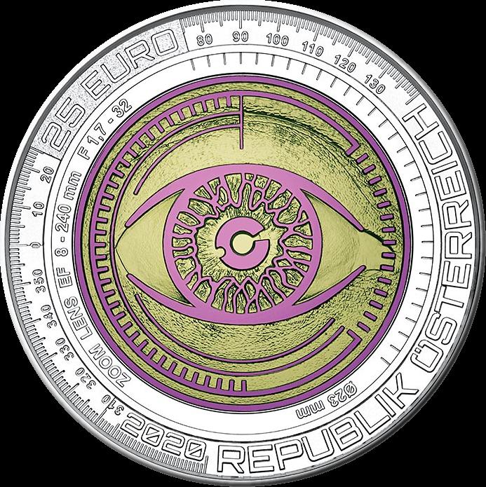 Австрия монета 25 евро За нами следят, аверс