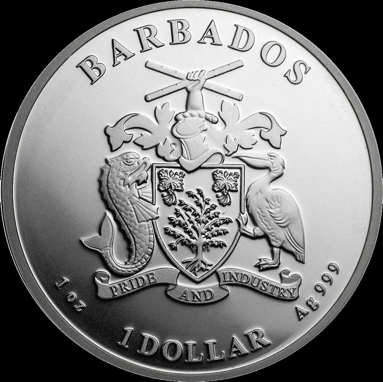 Барбадос монета 1 доллар Пеликан, аверс