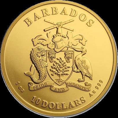 Барбадос монета 10 долларов Пеликан, аверс