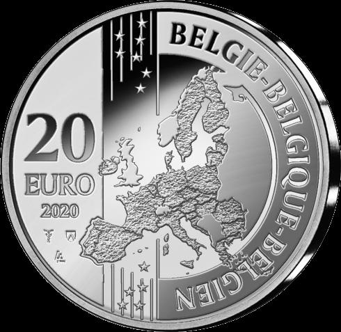 Бельгия монета 20 евро 2020, аверс