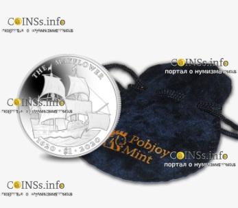 Британской Виргинские острова монета 1 доллар 400 лет путешествия Мэйфлауэра, подарочная упаковка