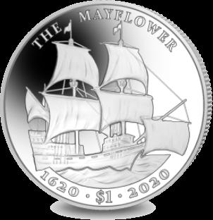Британской Виргинские острова монета 1 доллар 400 лет путешествия Мэйфлауэра, реверс