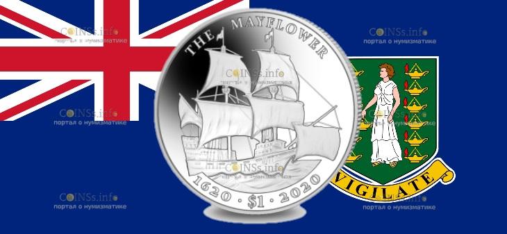 Британской Виргинские острова монета 1 доллар 400 лет путешествия Мэйфлауэра