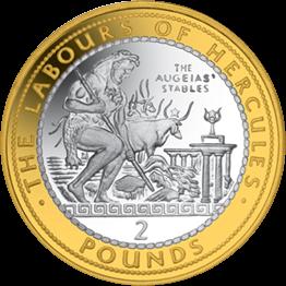 Гибралтар монета 2 фунта Авгиевы конюшни, реверс