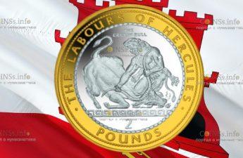 Гибралтар монета 2 фунта Критский бык