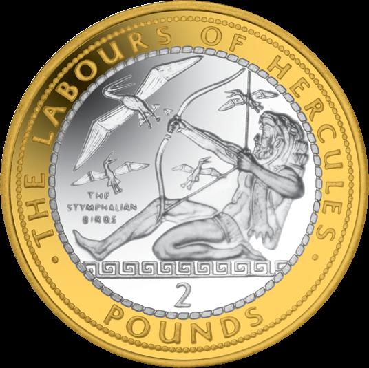 Гибралтар монета 2 фунта Стимфалийские птицы, реверс
