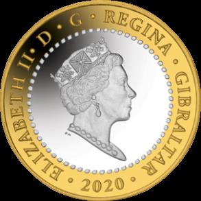 Гибралтар монеты 2020 года серии 12 подвигов Геракла, аверс