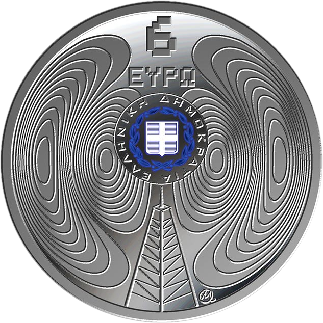 Греция монета 6 евро 75-летие Национальному радиофонду, аверс
