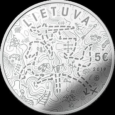 Литва монета 5 евро Скауты, аверс