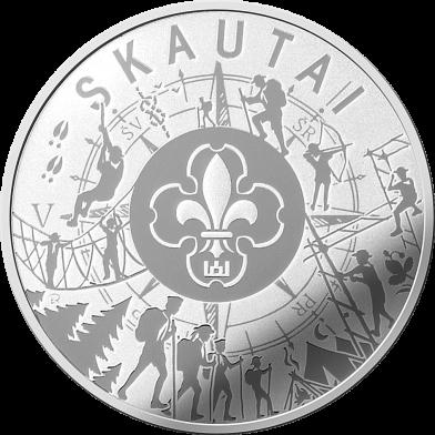 Литва монета 5 евро Скауты, реверс