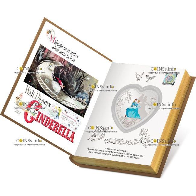Ниуэ монета 2 доллара 70 лет Золушке, подарочная упаковка