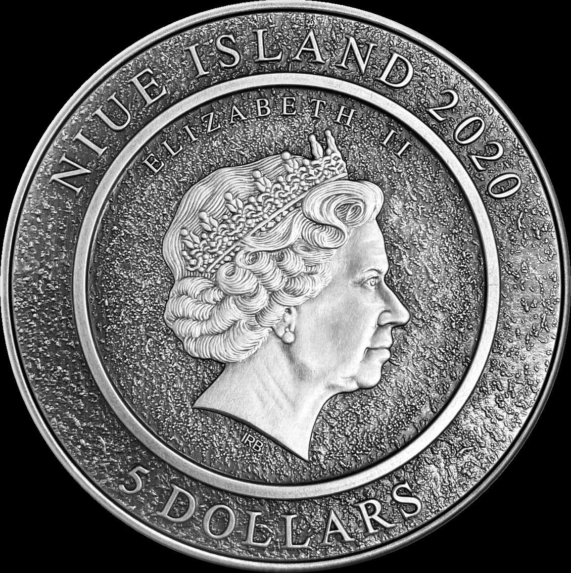 Ниуэ монета 5 долларов Винсент ван Гог, аверс
