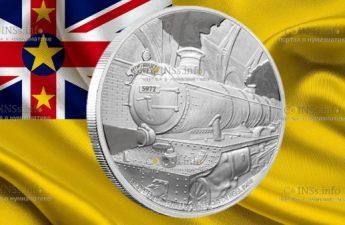 Ниуэ монета Локомотив Хогвартс Экспресс
