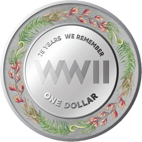 Новая Зеландия монета 1 доллар 75-летие окончания Второй мировой войны, реверс