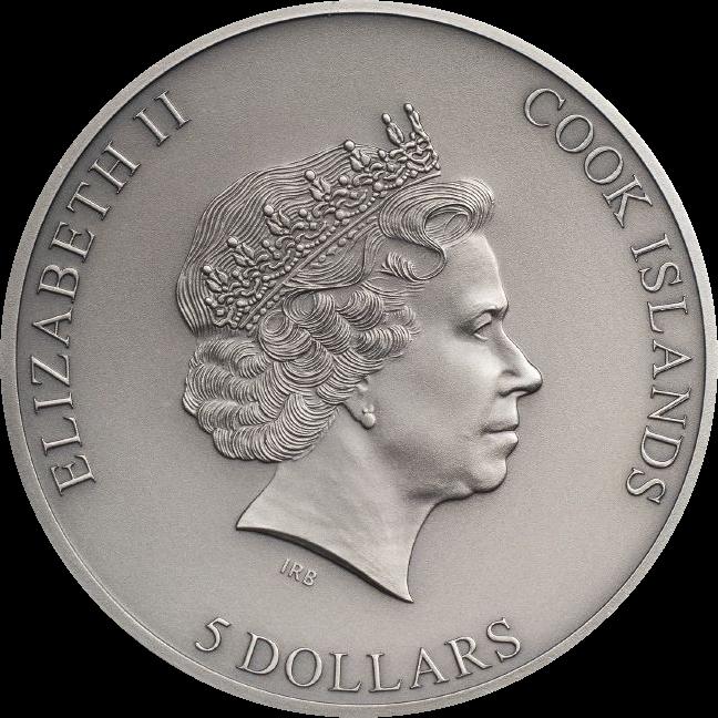 Острова Кука монета 5 долларов Ловушка, аверс