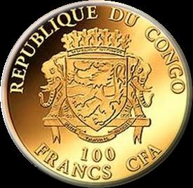 Республики Конго монета 100 франков КФА Казанская Шапка, аверс
