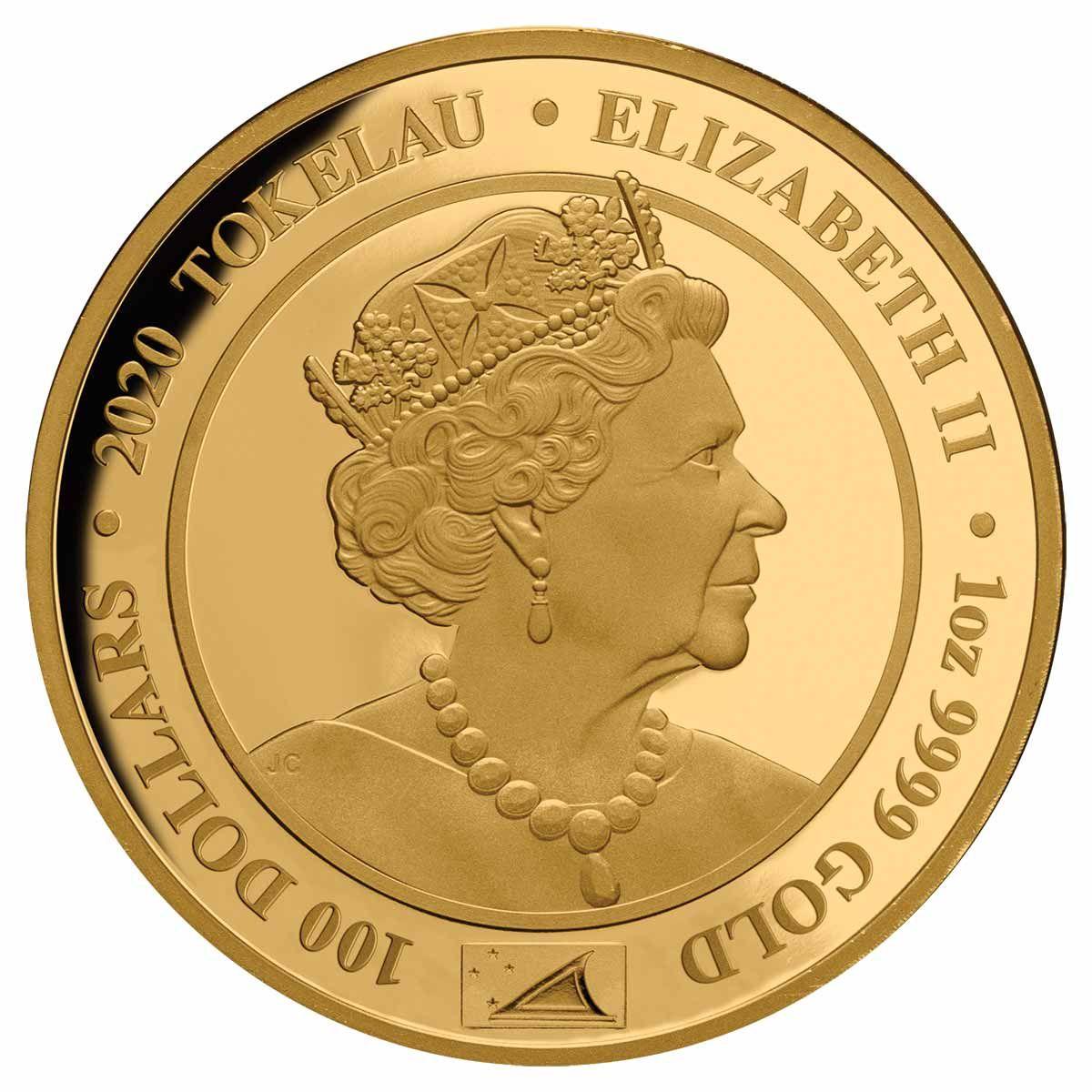 Токелау монета 100 долларов Королевский портрет, аверс