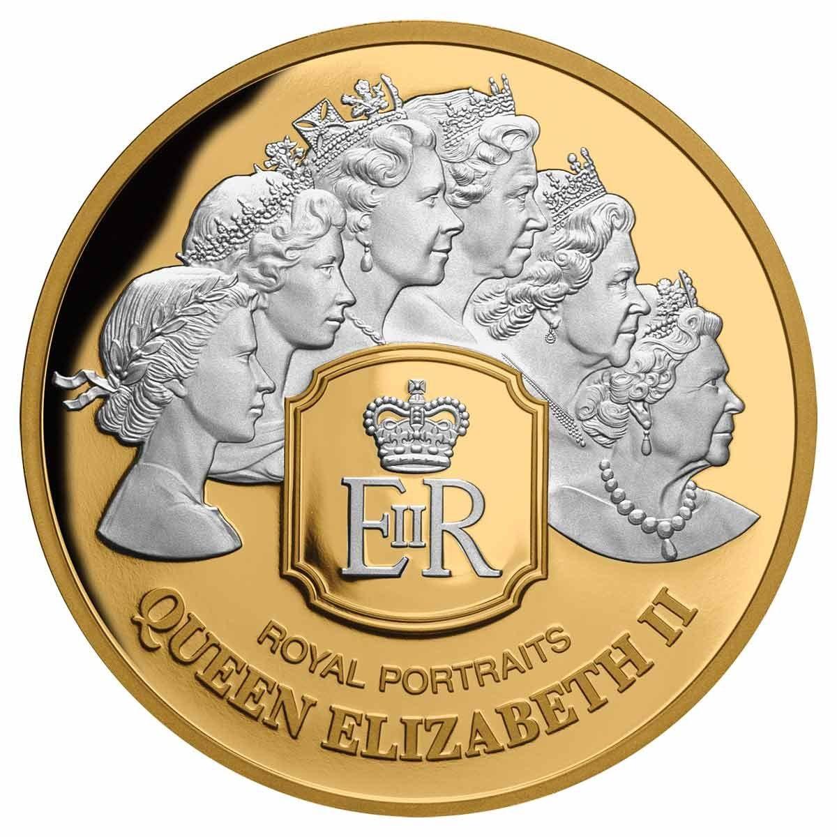 Токелау монета 100 долларов Королевский портрет, реверс