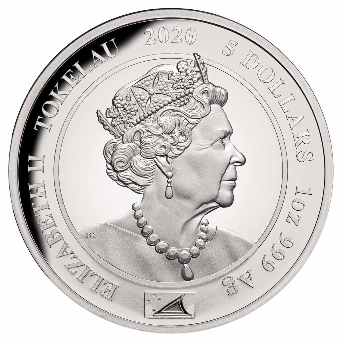 Токелау монета 5 долларов Королевский портрет, аверс