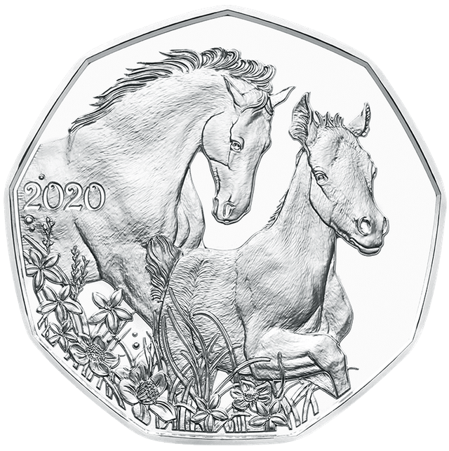 В Австрии монета 5 евро Друзья на всю жизнь, серебро, реверс