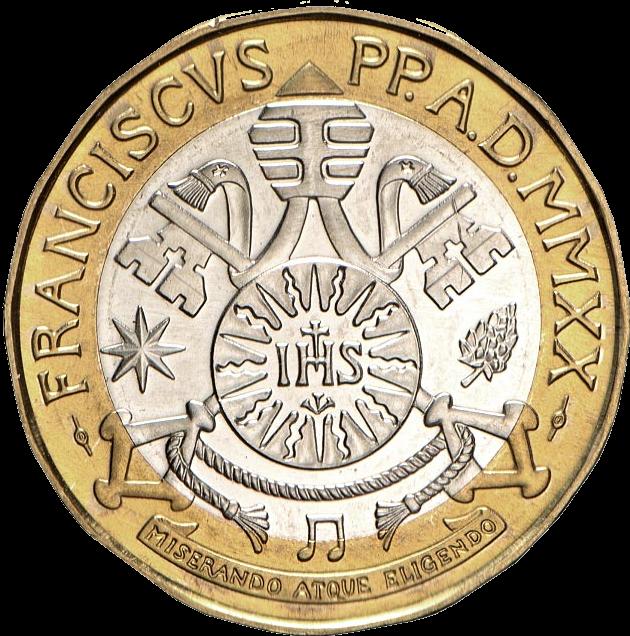 Ватикан монета 5 евро Бетховен, аверс