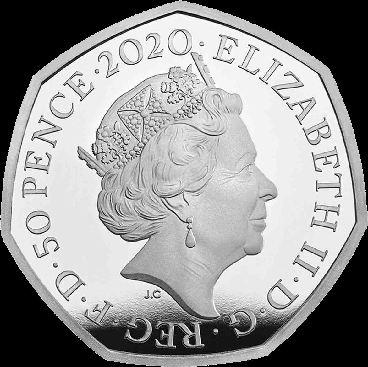 Великобритания монета 50 пенсов Кролик Питер 2020, аверс