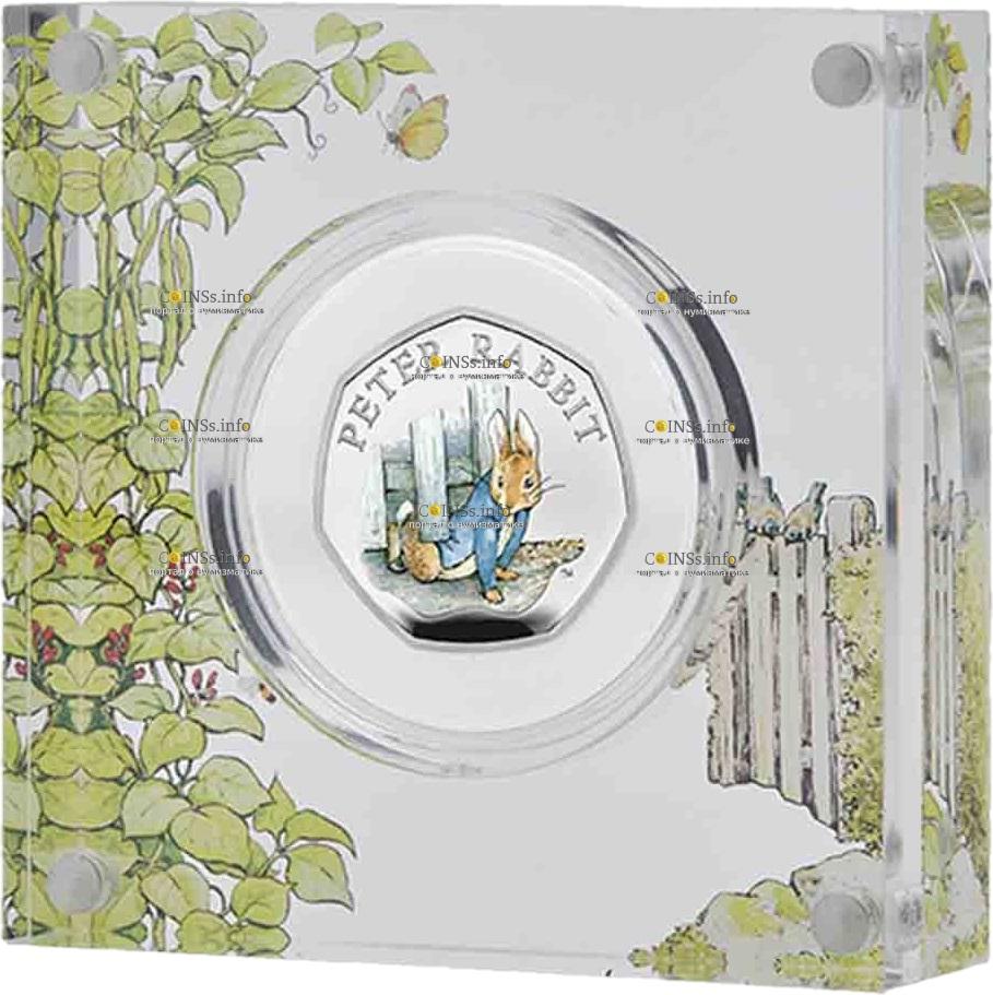 Великобритания монета 50 пенсов Кролик Питер 2020, подарочная упаковка