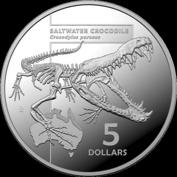 Австралия монета 5 долларов Морской Крокодил, реверс