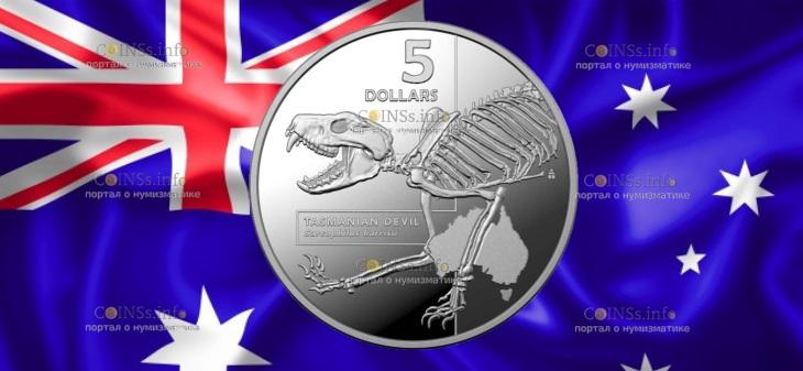 Австралия монета 5 долларов Тасманский дьявол