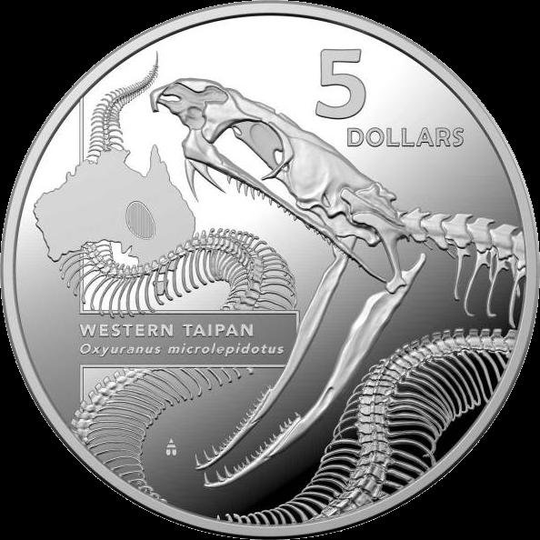 Австралия монета 5 долларов Западный Тайпан, реверс