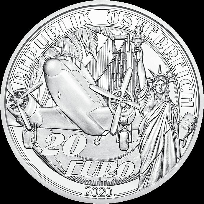 Австрия монета 20 евро Над облаками, аверс