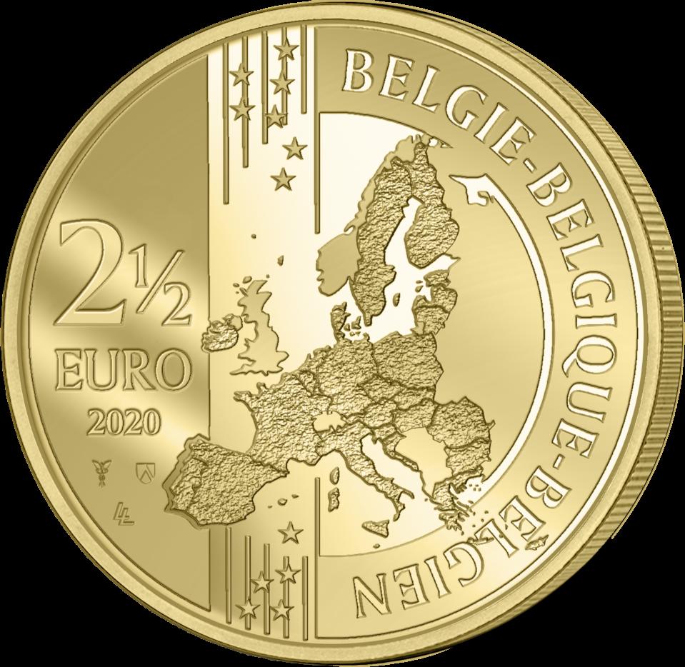 Бельгия монета 2,5 евро 75 лет мира и свободы в Европе, аверс