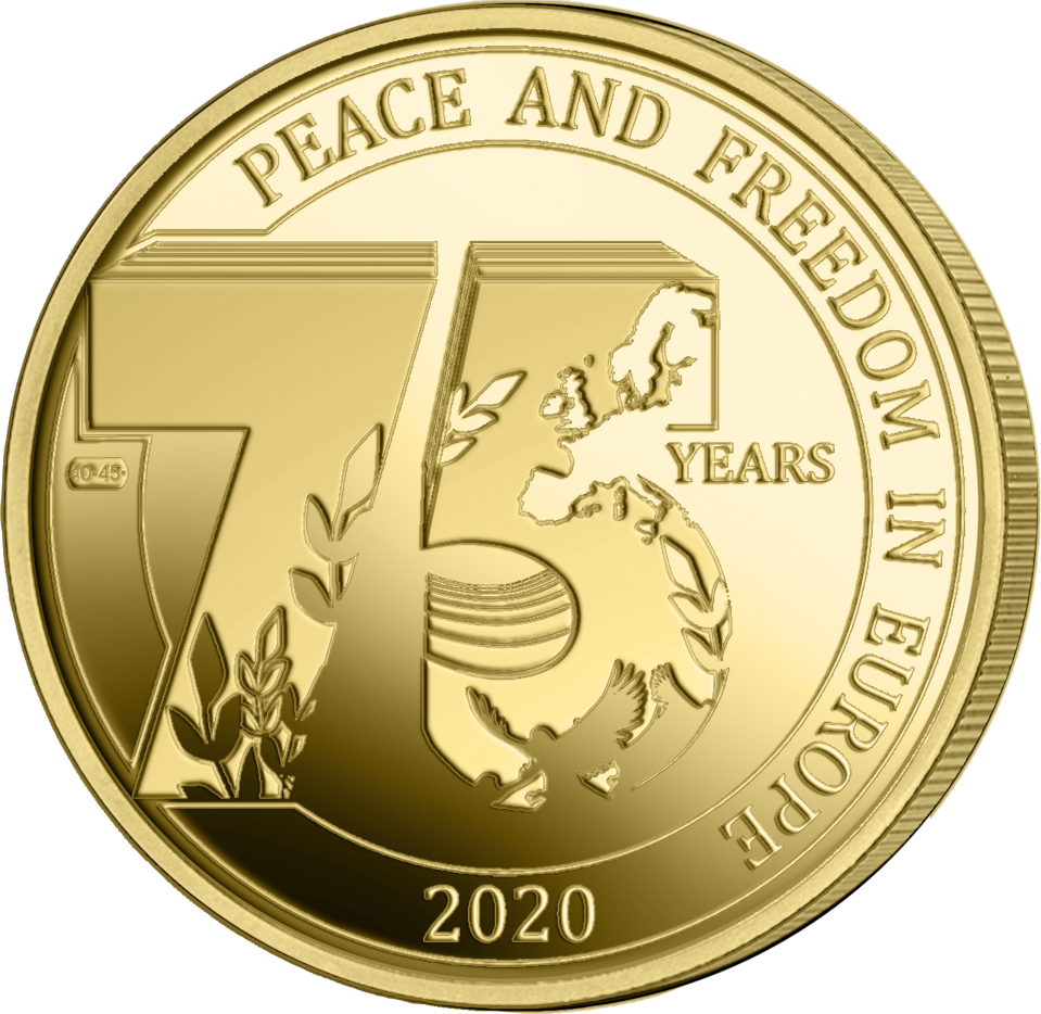 Бельгия монета 2,5 евро 75 лет мира и свободы в Европе, реверс