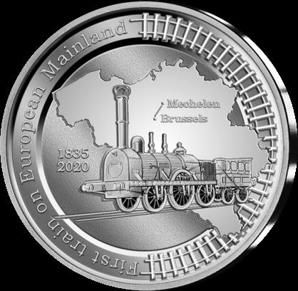 Бельгия монета 5 евро Первая в Европе железнодорожная линия, реверс
