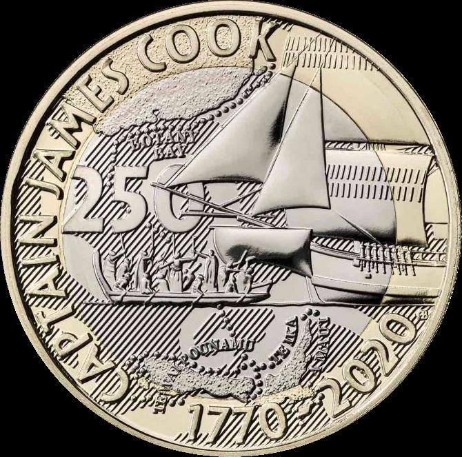Британия монета 2 фунта 250 лет открытиям капитана Кука, реверс