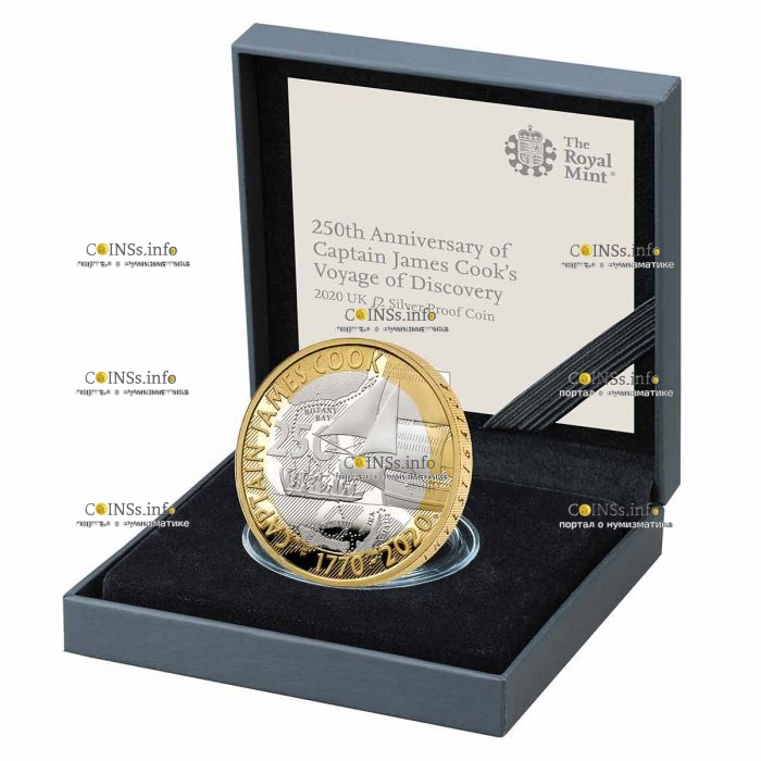 Британия монета 2 фунта 250 лет открытиям капитана Кука, серебро, подарочная упаковка